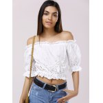 cheap Fashionable Off-The-Shoulder 3/4 Sleeve Crop Top