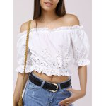 Fashionable Off-The-Shoulder 3/4 Sleeve Crop Top