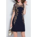 Embroidered Mesh Splicing Mini Dress deal