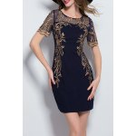 Embroidered Mesh Splicing Mini Dress for sale