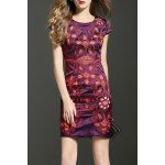 Embroidered Cap Sleeve Bodycon Dress