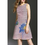 Striped Peacock Embroidered Dress deal