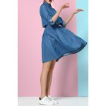High Waist Denim Shirt Dress for sale