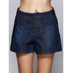 cheap Deep Color Denim Flare Jeans Shorts