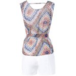 Geometric Print Tie Front Sleeveless Blouse + White Shorts Twinset For Women for sale