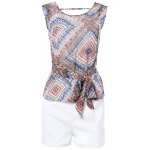 Geometric Print Tie Front Sleeveless Blouse + White Shorts Twinset For Women deal