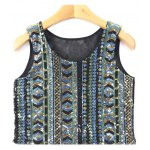 Ethnic Fashion Sequined Mesh Spliced Crop Top