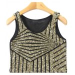 Bling Bling Sequined Mesh Splicing Crop Top