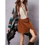 Stylish Collarless Long Sleeve Ethnic Style Striped Women's Cardigan for sale