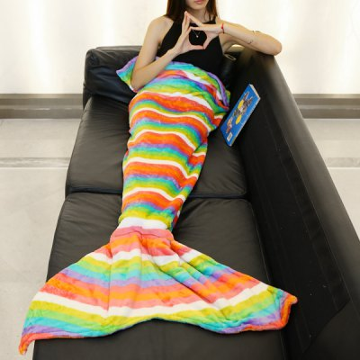 Trendy Colorful Rainbow Stripes Pattern Mermaid Tail Style Casual Soft Blanket