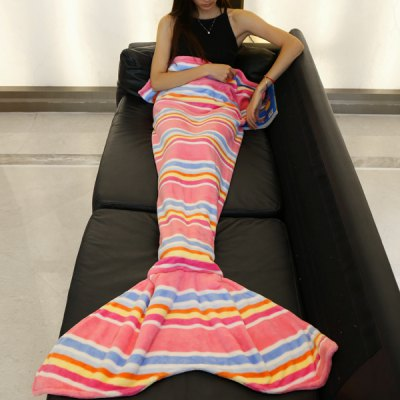 Trendy Various Stripes Pattern Mermaid Tail Style Sweet Soft Blanket