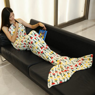 Trendy Simple Flowers Pattern Mermaid Tail Style Casual Soft Blanket