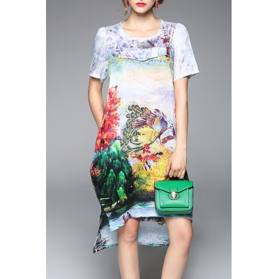 Colorful Printed High Low Short Sleeve Dress