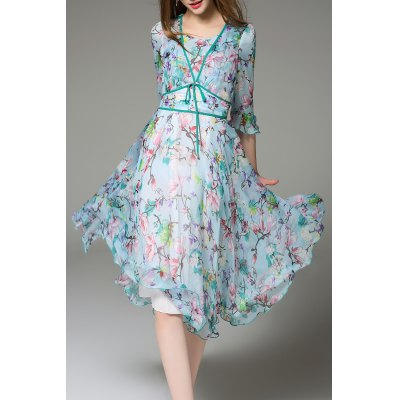 Floral Print 3/4 Sleeve Silk Dress
