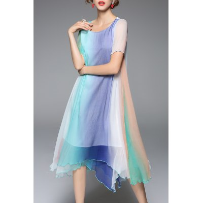 Scoop Neck Ombre Handerchief Dress