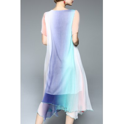 Scoop Neck Ombre Handerchief DressDesigner Dresses<br>Scoop Neck Ombre Handerchief Dress<br><br>Style: Brief<br>Occasion: Beach &amp; Summer<br>Material: Polyester,Silk<br>Composition: Outer Composition:100% Silk&lt;br&gt;Lining Composition:100% Polyester<br>Silhouette: Asymmetrical<br>Dresses Length: Mid-Calf<br>Neckline: Scoop Neck<br>Sleeve Length: Short Sleeves<br>Pattern Type: Others<br>With Belt: No<br>Season: Summer<br>Weight: 0.370kg<br>Package Contents: 1 x Dress