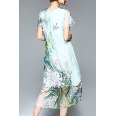 plants-print-chiffon-midi-dress