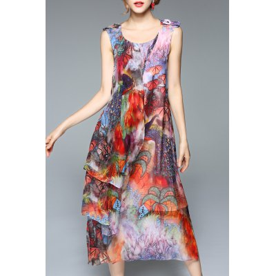 Colorful Printed Chiffon Tank Dress