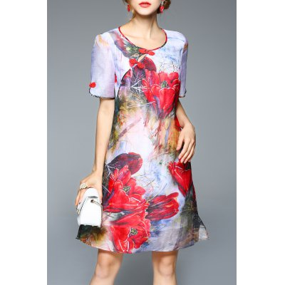 A Line Flower Print Silk Dress