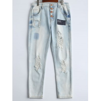 Wash Bleach Button Design Ripped Embroidery Jeans