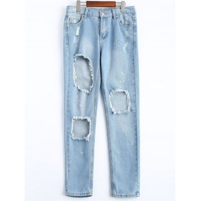 Women's Destroyed Painted Pocket Design Harem Jeans