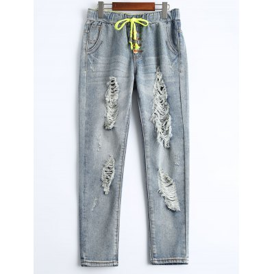 Women's Drawstring Ripped Ninth Harem Jeans