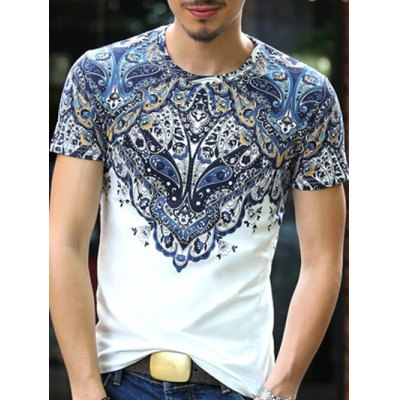Baroque Round Neck Abstract Printing Slimming Short Sleeves T-Shirt For Men
