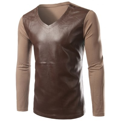 PU-Leather Splicing Design Long Sleeve T-Shirt For Men
