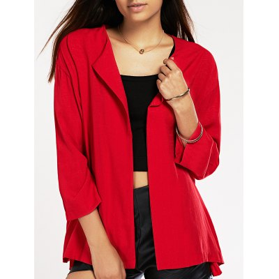 Trendy Ninth Sleeve Turn Collar Red Jacket For Women