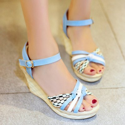 Sweet Hit Color and Wedge Heel Design Sandals For Women