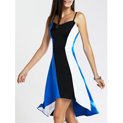 Spaghetti Strap Color Blocks High Low Dress For Women