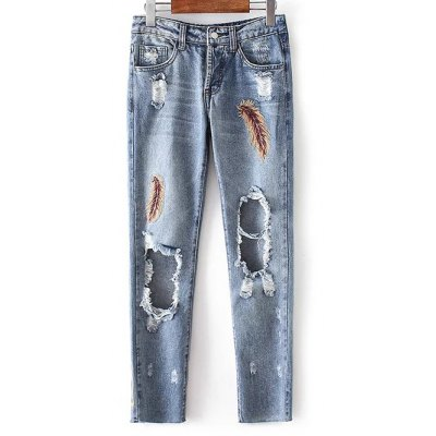 Low Rise Ripped Jeans