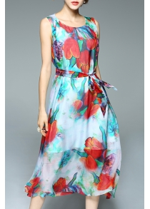 Floral Print Chiffon Tank Dress