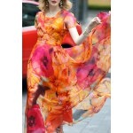 Floral Print Maxi Swing Dress for sale