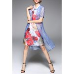 best Stand Collar Floral Print Midi Dress