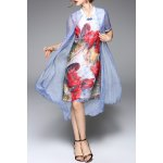 Stand Collar Floral Print Midi Dress for sale