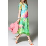 Floral Print Colorful Silk Dress for sale