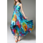V Neck Floral Print Maxi Bohemian Dress for sale