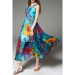 cheap V Neck Floral Print Maxi Bohemian Dress