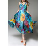 V Neck Floral Print Maxi Bohemian Dress deal