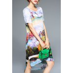 Colorful Printed High Low Short Sleeve Dress for sale
