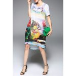 best Colorful Printed High Low Short Sleeve Dress