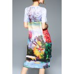 cheap Colorful Printed High Low Short Sleeve Dress