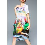 Colorful Printed High Low Short Sleeve Dress deal