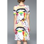 cheap V Neck Abstract Print Knee Length Dress
