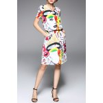 V Neck Abstract Print Knee Length Dress deal