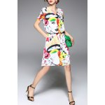 V Neck Abstract Print Knee Length Dress for sale