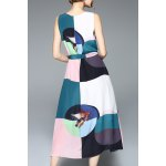 cheap Color Block Belted Midi Tank Dress
