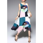 Color Block Belted Midi Tank Dress for sale