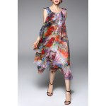 Colorful Printed Chiffon Tank Dress for sale